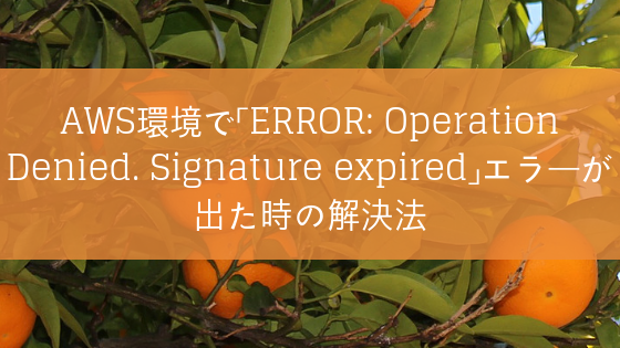 AWS環境で「ERROR: Operation Denied. Signature expired」エラーが出た時の解決法